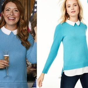 Pure Cashmere Sweater Layered Embellish Collar